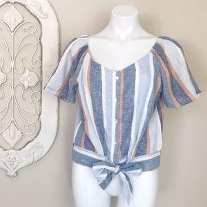DREW   Stripe Linen Blend Tie Waist Short Sleeve L